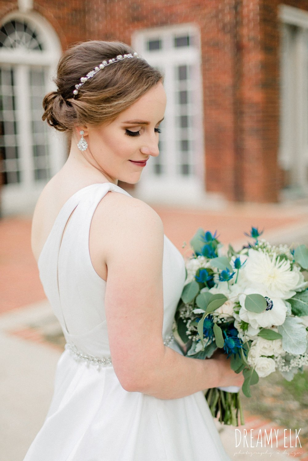 blue wedding bouquet, modern wedding dress ballgown, spring wedding, the astin mansion, bryan, texas, spring wedding, dreamy elk photography and design