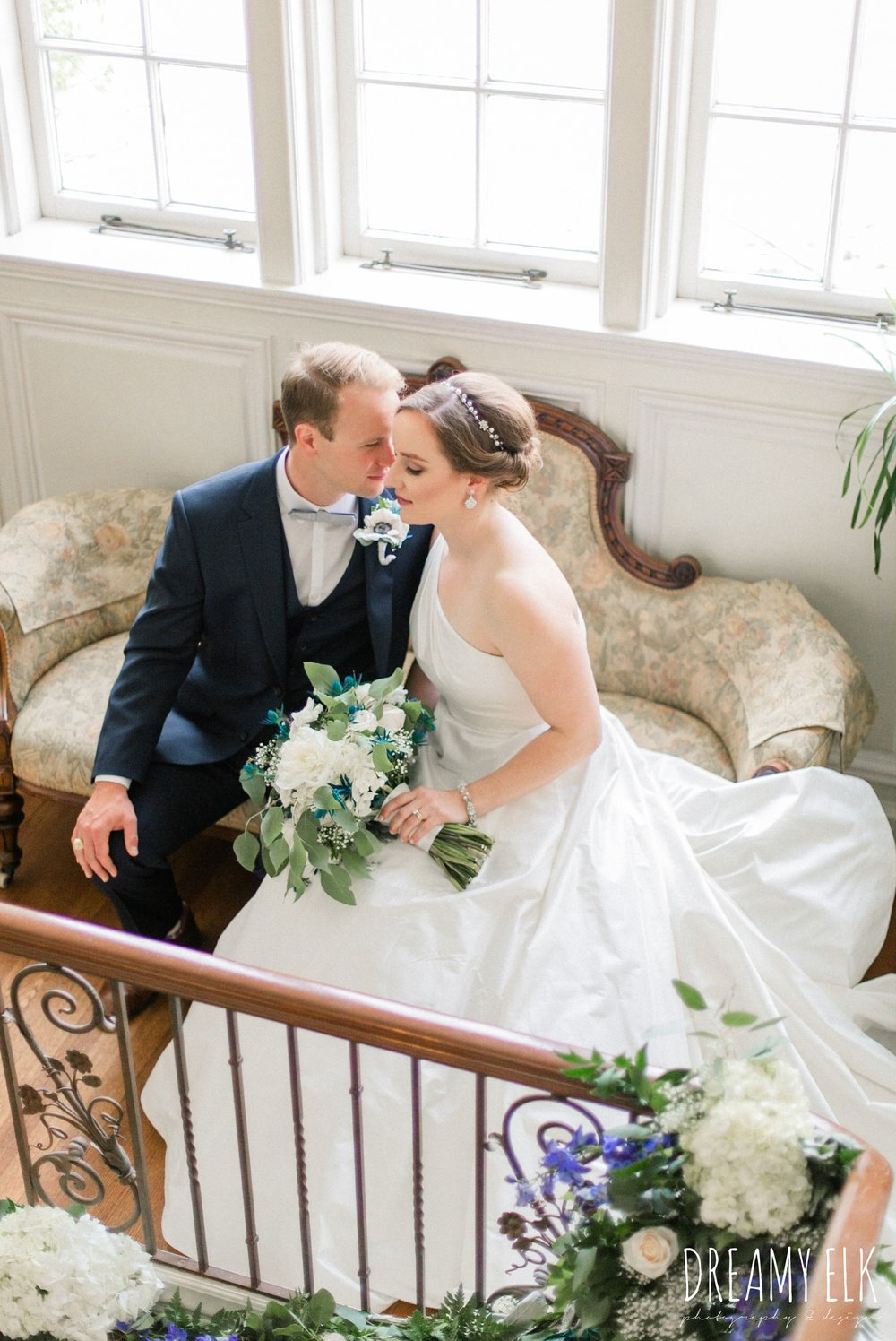 bride and groom, men's wearhouse, blue wedding bouquet, modern wedding dress ballgown, spring wedding, the astin mansion, bryan, texas, spring wedding, dreamy elk photography and design