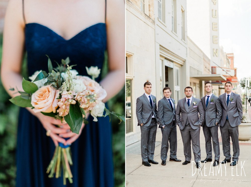 unforgettable floral, groom and groomsmen, gray suit navy tie, spring wedding photo college station texas, dreamy elk photography and design