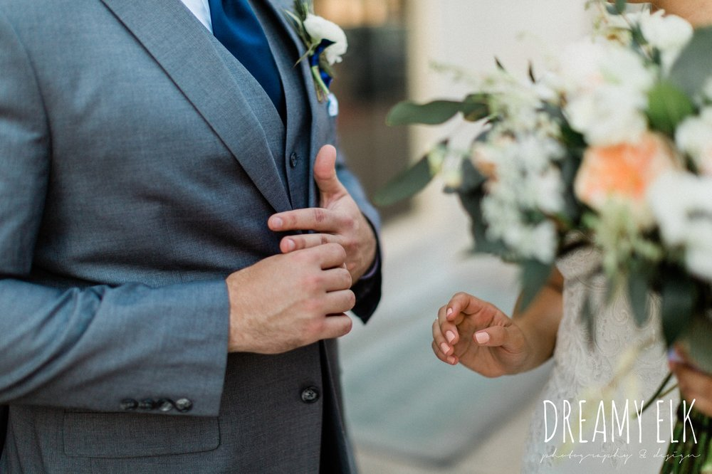 bride and groom, gray suit navy tie, essense of australia column dress, unforgettable floral, spring wedding photo college station texas, dreamy elk photography and design