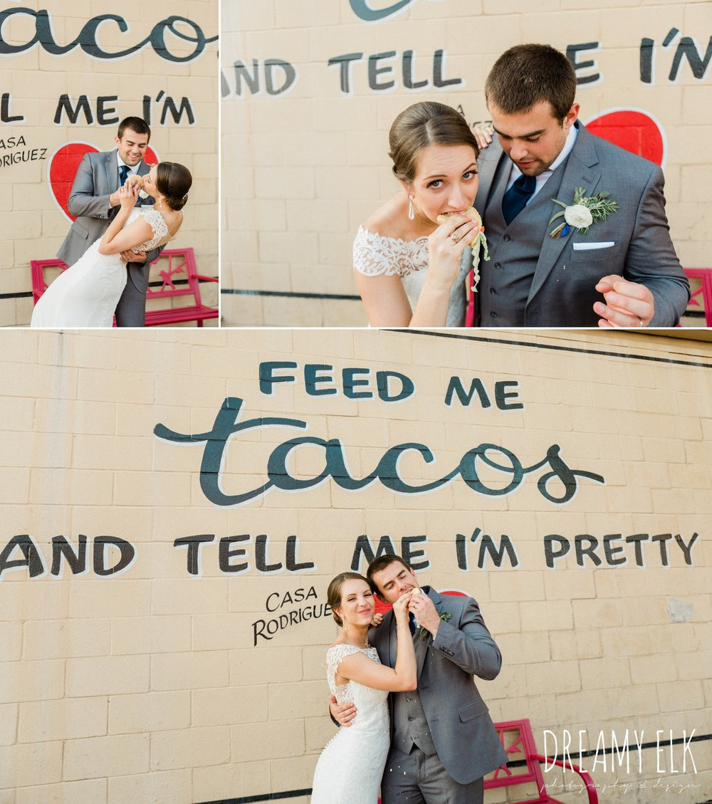 bride and groom eating tacos, essense of australia column dress, unforgettable floral, spring wedding photo college station texas, dreamy elk photography and design