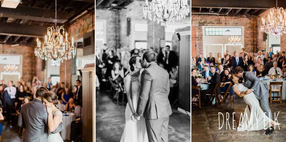bride and groom first dance, ashley and company, downtown 202, unforgettable floral, spring wedding photo college station texas, dreamy elk photography and design