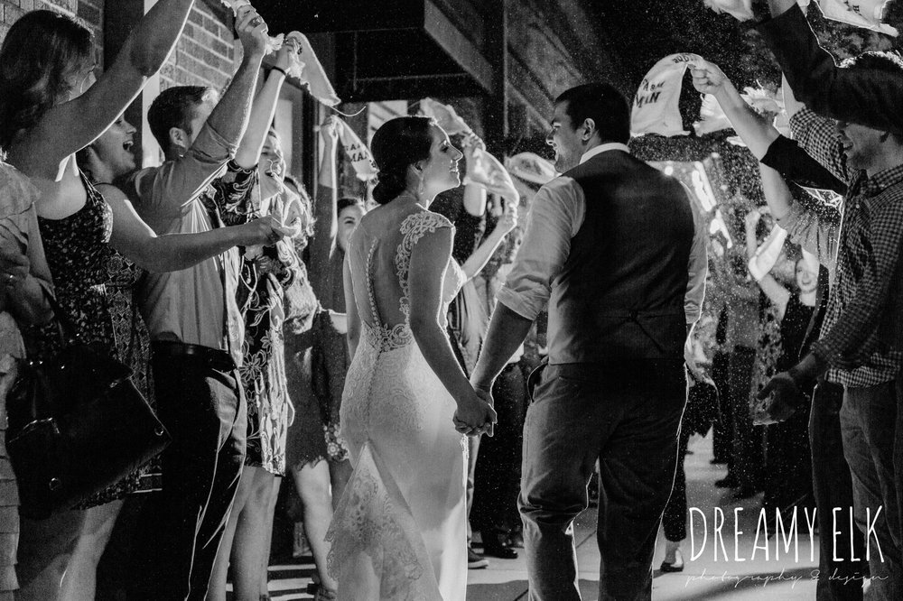 bride and groom send off twelfth man towel, wedding reception, ashley and company, downtown 202, spring wedding photo college station texas, dreamy elk photography and design