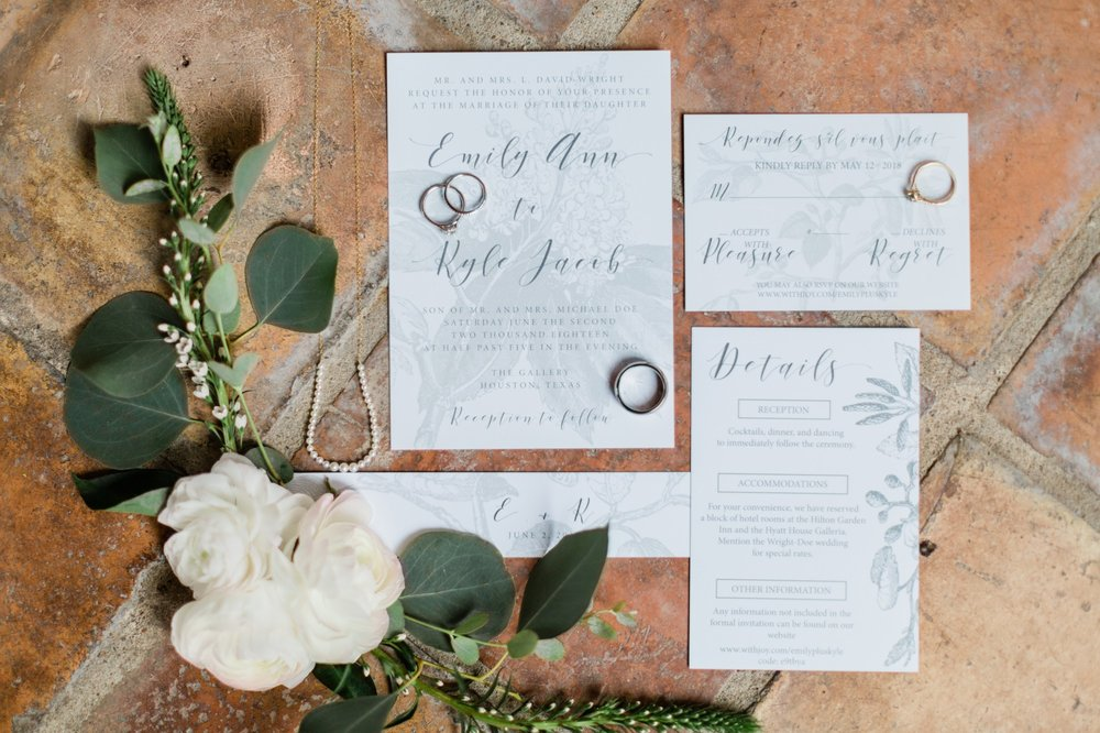 poison ivy floral design, wedding invitation, spring wedding photo, the gallery, houston, texas, dreamy elk photography and design