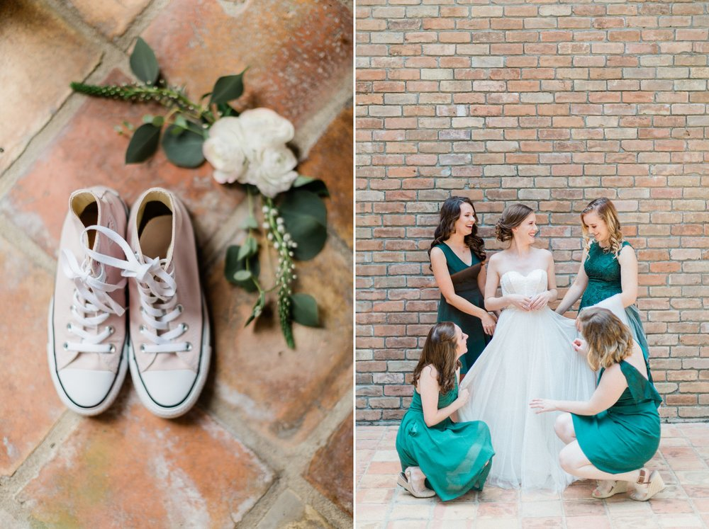 pink converse, bride getting dressed, spring wedding photo, the gallery, houston, texas, dreamy elk photography and design