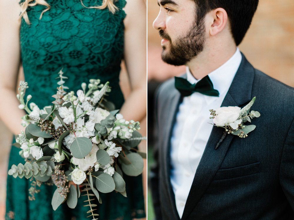 groom, black tux, emerald green bridesmaid, poison ivy floral design, spring wedding photo, the gallery, houston, texas, dreamy elk photography and design
