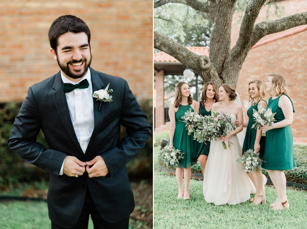 groom, black tux, bride and bridesmaid, bhldn dress, emerald green bridesmaid, poison ivy floral design, spring wedding photo, the gallery, houston, texas, dreamy elk photography and design