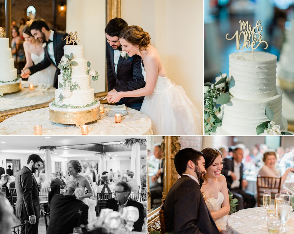 indoor wedding reception, cutting the cake, spring wedding photo, the gallery, houston, texas, dreamy elk photography and design