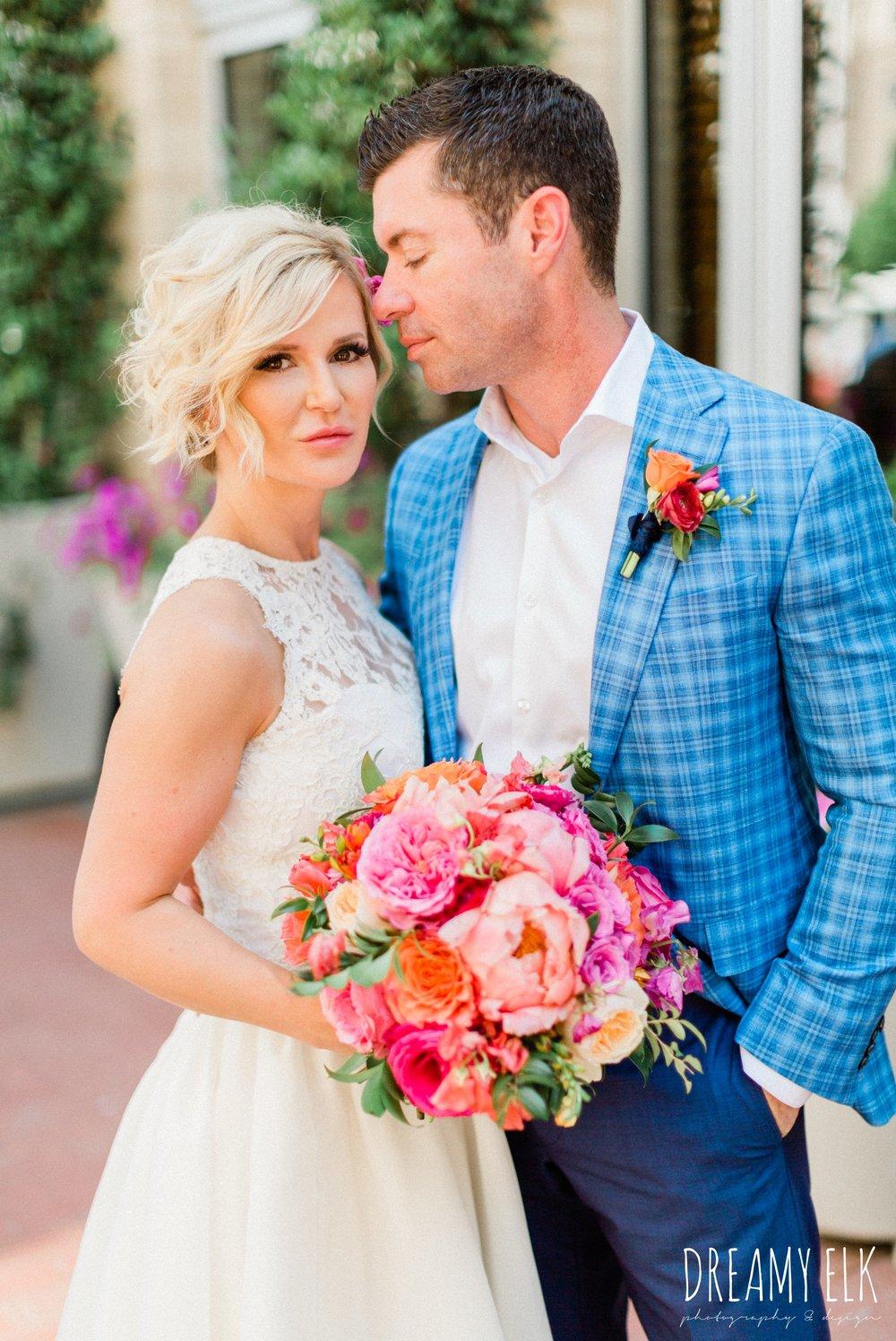 groom, ted baker, bride, michael faircloth, short wedding dress, spring colorful pink orange wedding photo, fort worth, texas, dreamy elk photography and design, jen rios weddings, kate foley designs