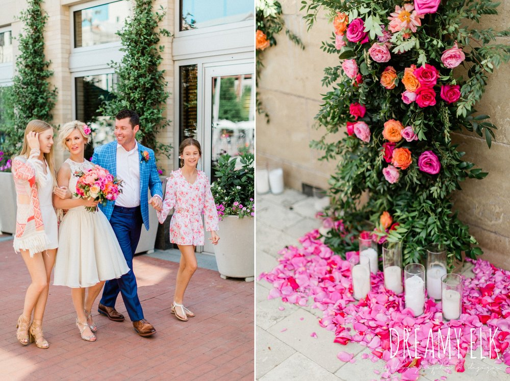 groom, ted baker, bride, michael faircloth, short wedding dress, spring colorful pink orange wedding photo, fort worth, texas, dreamy elk photography and design, jen rios weddings, kate foley designs