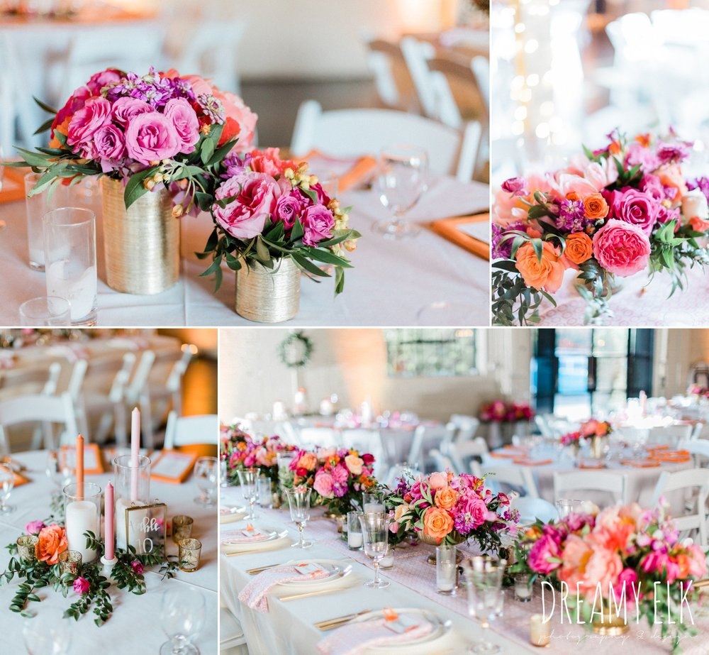 reception decor, spring colorful pink orange wedding photo, fort worth, texas, dreamy elk photography and design, jen rios weddings, kate foley designs