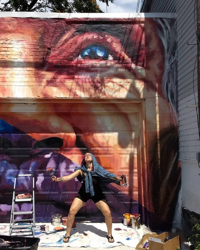 I'm sorry, but my best friend is cooler than your best friend. We make good weird 🤓 .  #artbitchesforlife #wxmenpaint #wxmenpaintTO #toronto #streetartists #streetartoftheday #urbanart #wxmenpaint2018 #portraitmural #mural #art #happylosers #graffiti #streetarttoronto #laceyandlayla #laceyandlaylaart