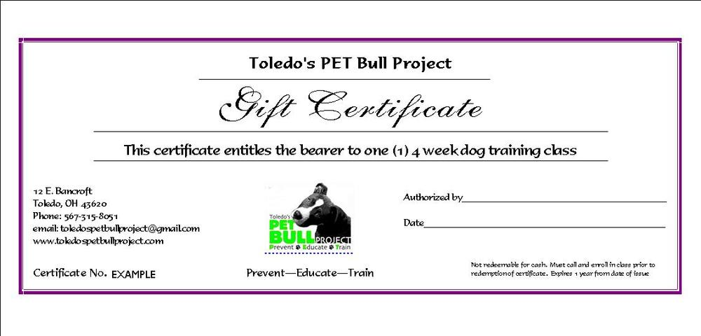 Gift certificate 4 week dog training course toledos pet bull gift certificate 4 week dog training course toledos pet bull project yadclub