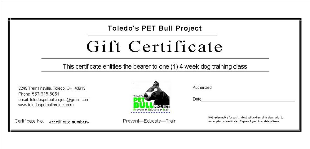 gift certificate - 4-week dog training course — toledo's pet bull ...