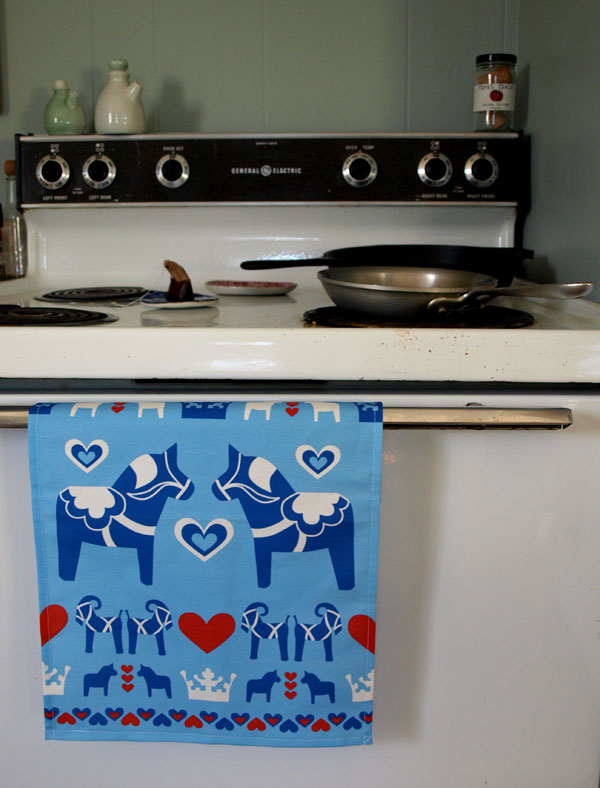 Swedish Christmas tea towel, in blue. Available soon at  etsy.com/shop/LilleputtStudio .