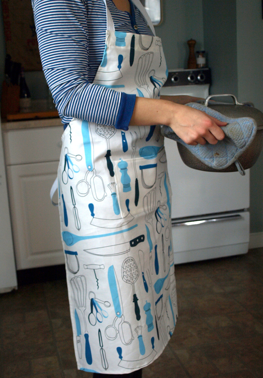 …and done sewing another apron. Using my retro kitchen utensils fabric design. (On etsy).
