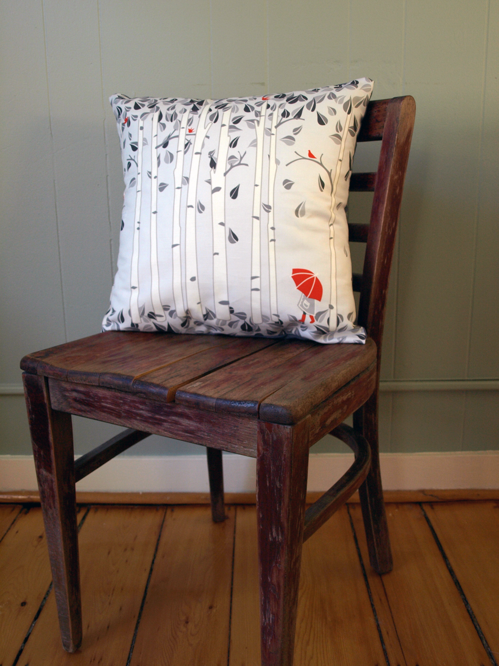 …and Birch Trees Pillow at 18x18 inches. textile design ©lilleputt studio