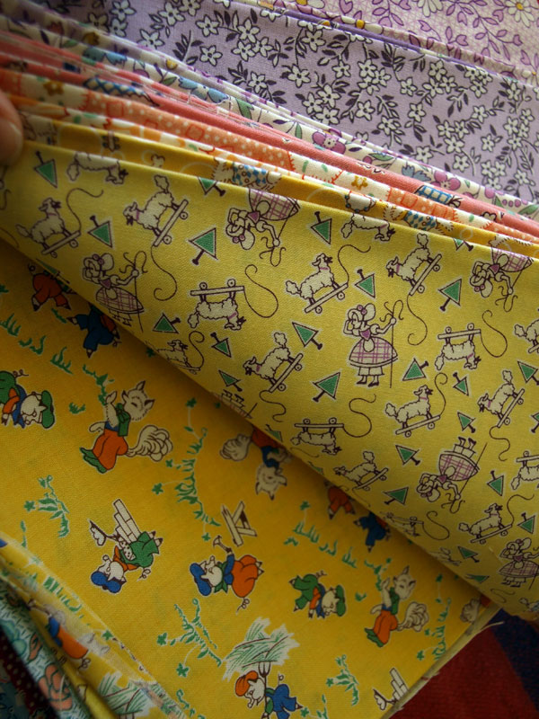 Little Bo Peep and Three Little Pigs, vintage fabrics from the 40s.