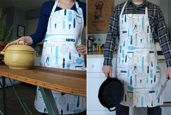 "His and Hers, linen/cotton aprons with ""Retro Utensils"" print. (Also on  etsy !)"