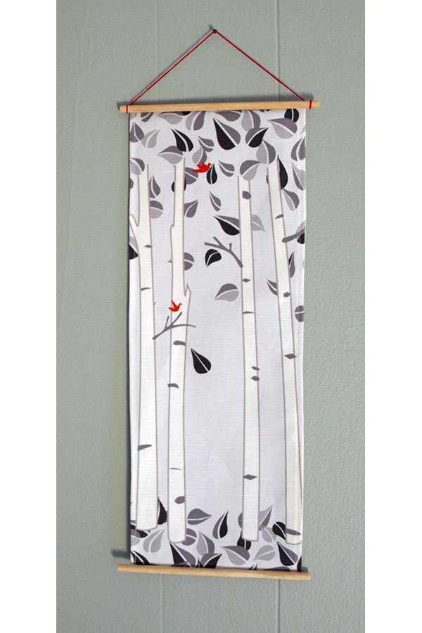 …and for all my sewing, I had a little strip of fabric left over from my Birch Tree Pillows. So I made myself a little wall hanging for the entrance to my studio. (textile design ©lilleputt studio)