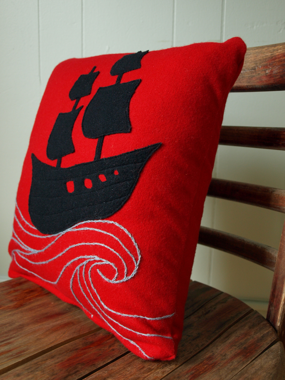 My wool pillow is finished and available on etsy! Applique and hand-embroidery.