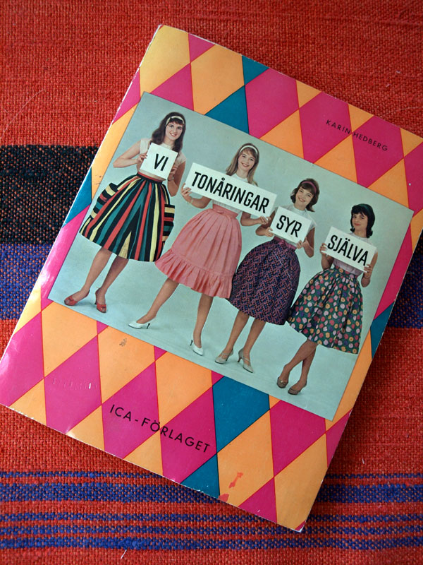 "I found this instructional book with patterns, ""We teens sew ourselves"" published in 1959, that my mom used in her teens. She laughed when I asked to borrow it, because the styles are so outdated. I think there's a lot to work with. Not to mention my Swedish sewing vocabulary. Getting excited for the apparel class I'm starting next month!"