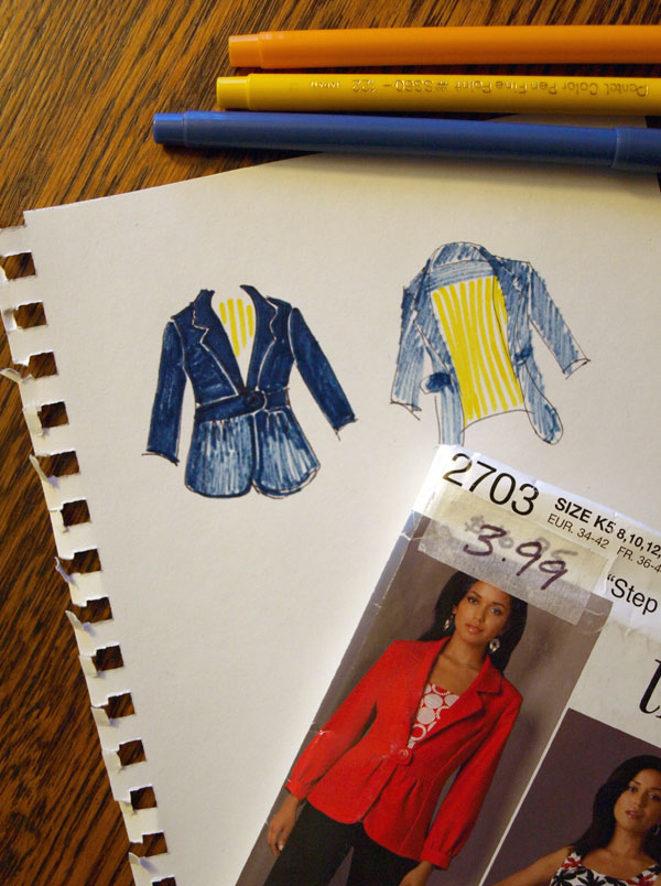 I had to choose a pattern to work with in class… the idea of taking on a blazer by myself kind of daunts me, so I grabbed this pattern to play with. I'm thinking 3/4 sleeves, straight cuff…. a dark rich blue… and yellow and white striped lining. Lightweight, for spring and summer. I think I like the button closure? We'll see. Now I just have to find the right fabric.