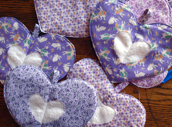 More pot holders; perfect vintage fabrics for spring and Easter!