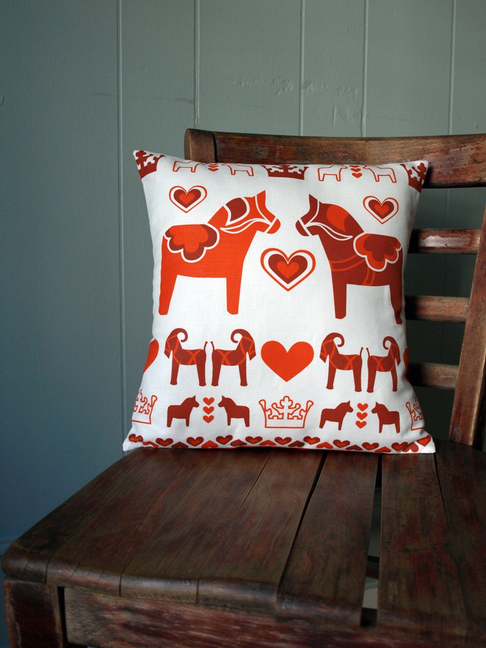 "Swedish pillow with my ""Dalahäst"" design  (on etsy)"