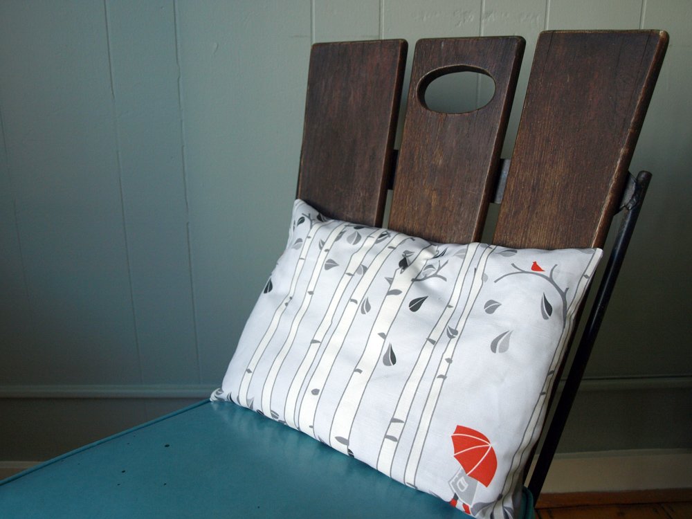 Breakfast Pillow with my Birch Tree design…