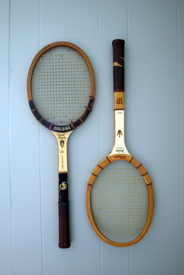 Like these rackets for example. Great for decorating…. but I still have a stack NOT mounted on the wall.  And soon we'll be trying a set out down at the courts!