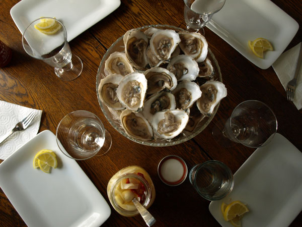 Another great meal: To start, Maine Oysters. I managed to grow up in New England and never have one until last night. With lemon, Siracha and pickled onions, I quite enjoyed them!   I promise to get back into the studio soon!