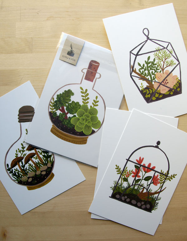 I've long admired the work of  Portland Oregon based Quill & Fox , and finally ordered a set of their terrarium themed postcards. I was so excited to receive them in the mail today, and the packaging was thoughtful and well designed too. I want to find some small picture frames to put them up!