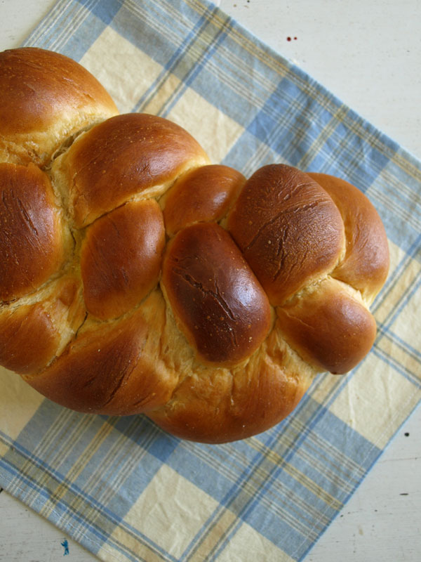Part of what will likely become a 'daily bread' feature: Brought home yesterday from the bakery, a golden scrumptious loaf of challah.