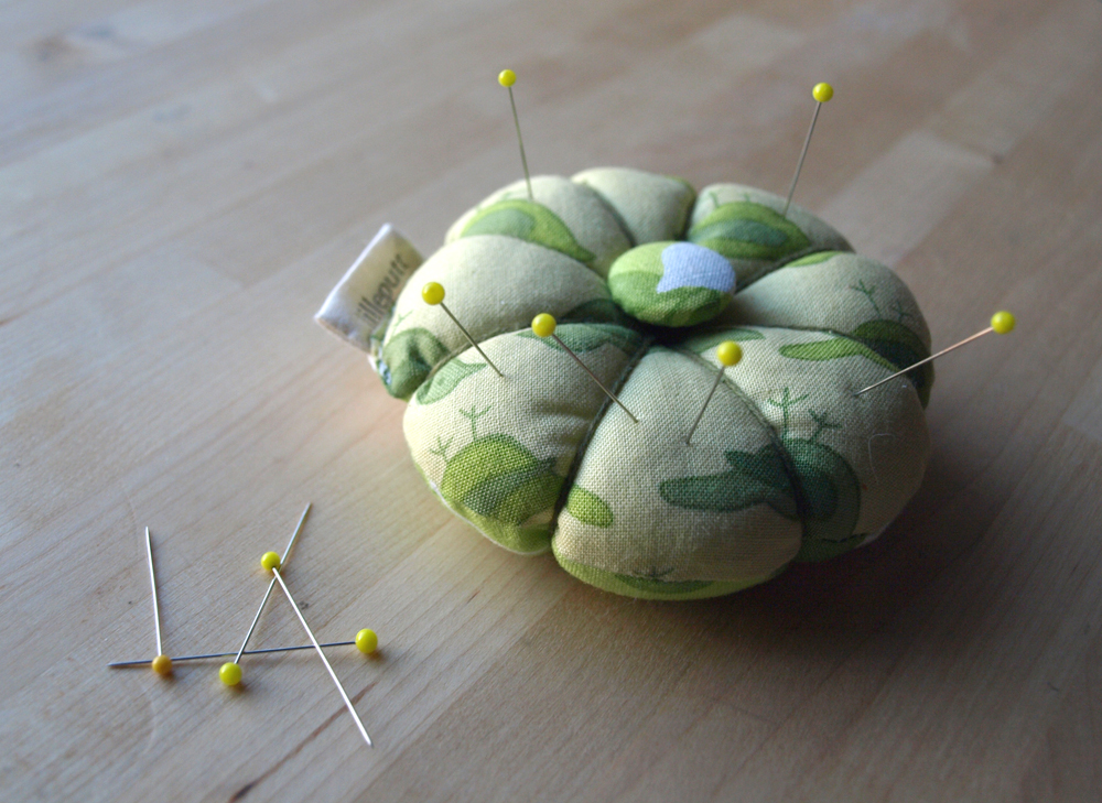 Pretty in Greens. New 'flower' pin cushion in floral and bird patterns on etsy.