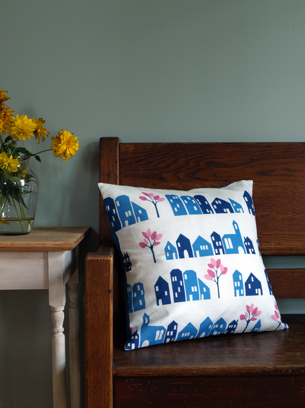 And now for a larger pillow too! 18x18, in linen/cotton, with a blue keno cotton envelope back. In the shop!