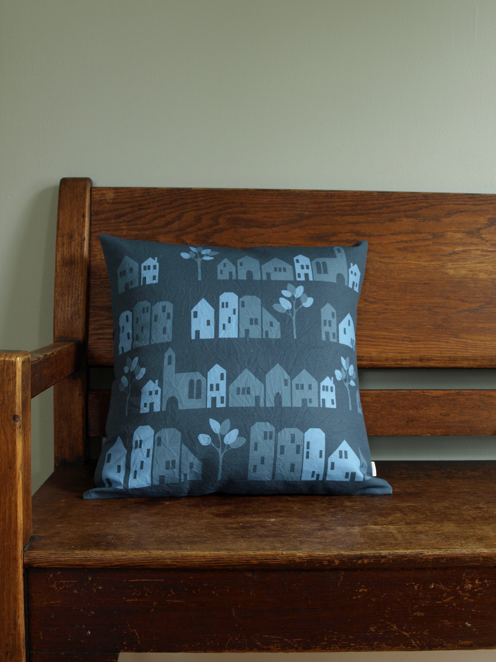 And the new color way of my Ronneby design, in midnight blues (18x18 inch pillow)…