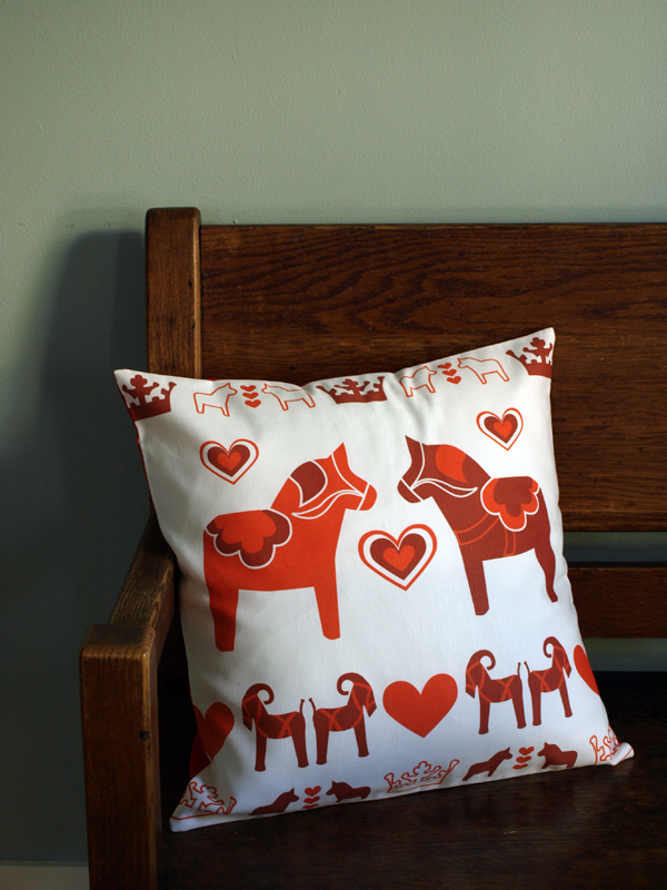 …and the red dala horse pillow now in a large size, 18x18