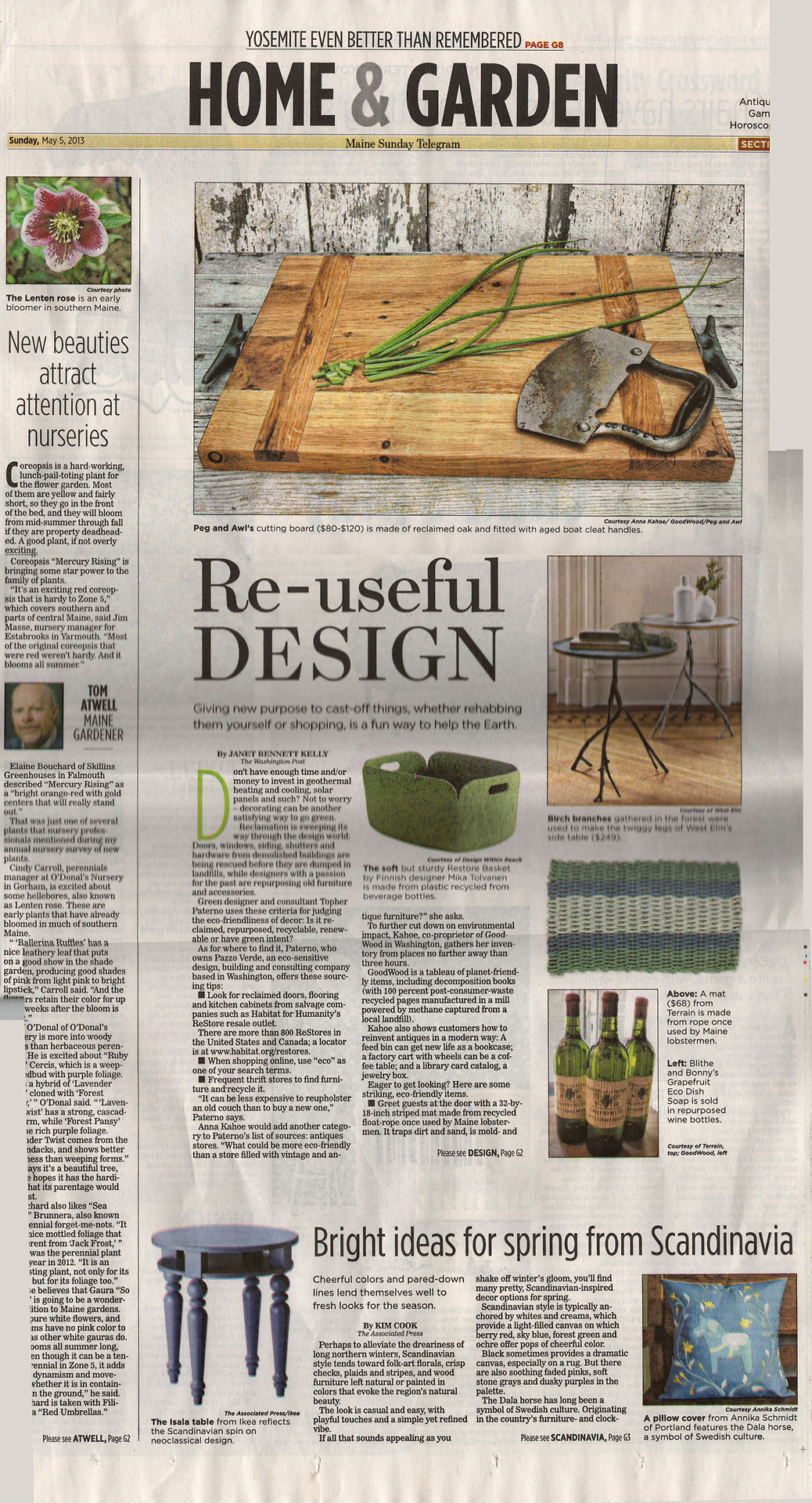 Hey Maine, did you get your Maine Sunday Telegram this morning? Check out the Home & Garden Section! A little support from my beautiful home state: