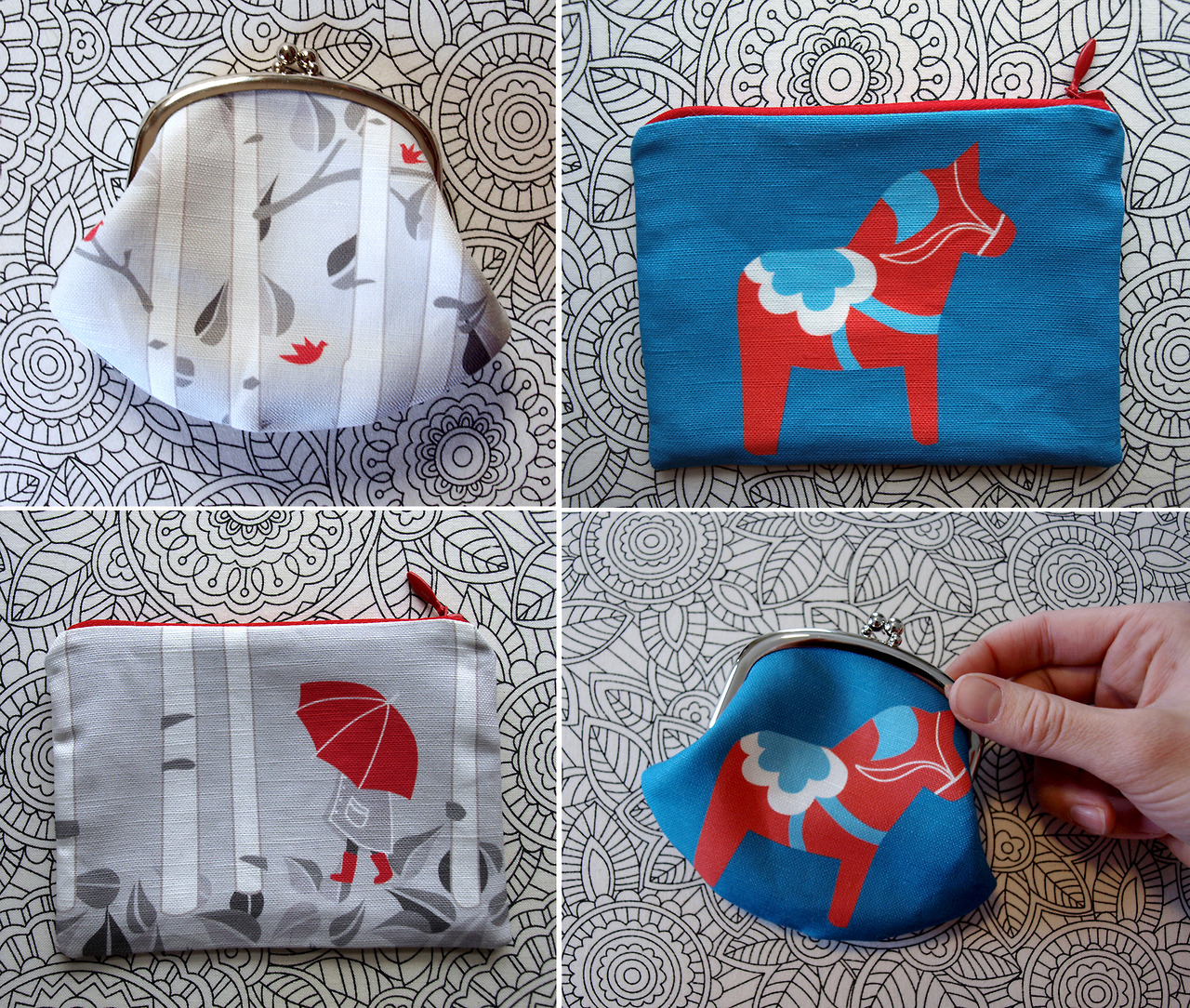 Coin purses now available in the two different styles. Casual or cute, it's up to you.