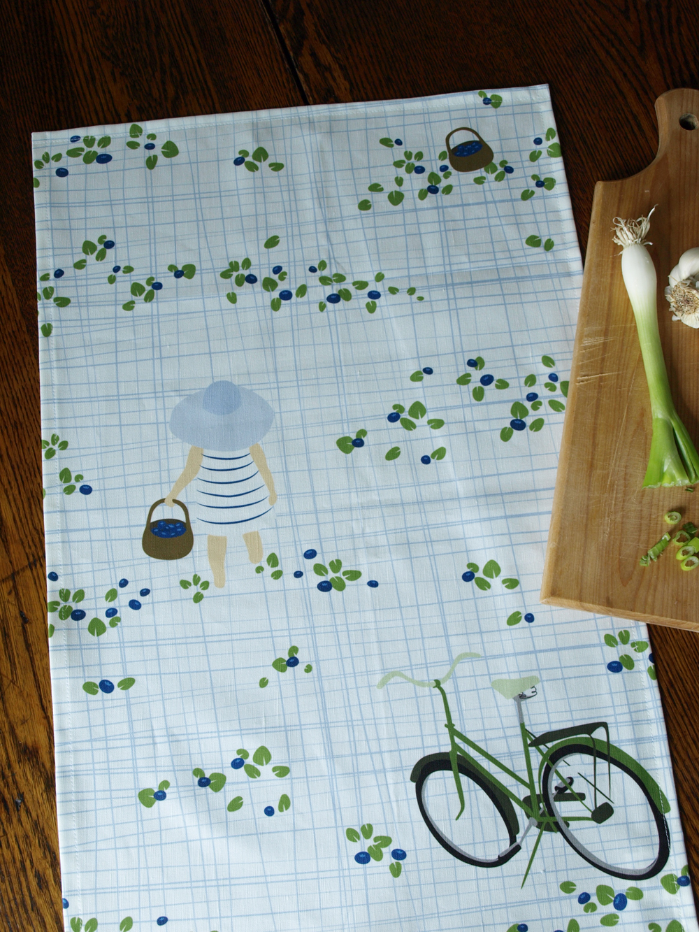 Get ready for Blueberry season with a Blueberry-picking tea towel!