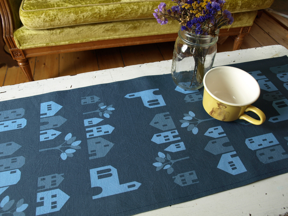 Ronneby Houses table runner in midnight blue!