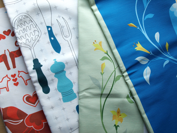 Fabric back from the printers … more pillows and linen towels on the way!