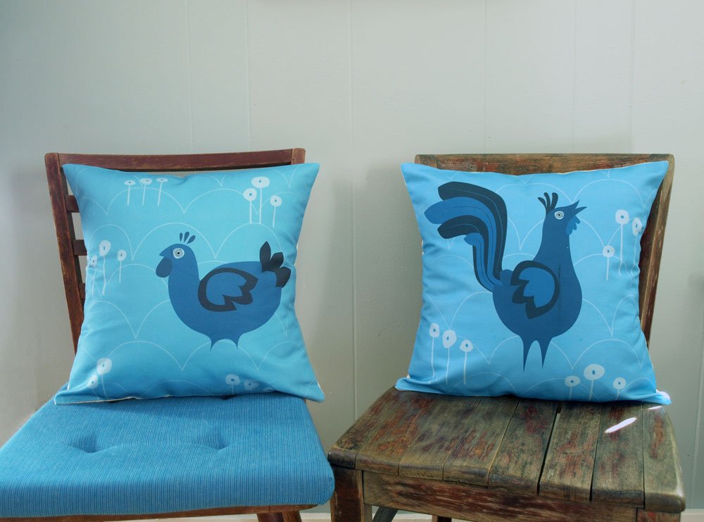 New designs trickling into the studio!  The little hen will be in the shop later today. This rooster, unfortunately, came in with a streak of ink across it from the printer, so I wont have these in the shops for a week or two… good news is, we get a new pillow for the apartment!  Don't forget to vote for us once, twice… (6 times?) today! And every day, just one more week till voting for American Made closes.