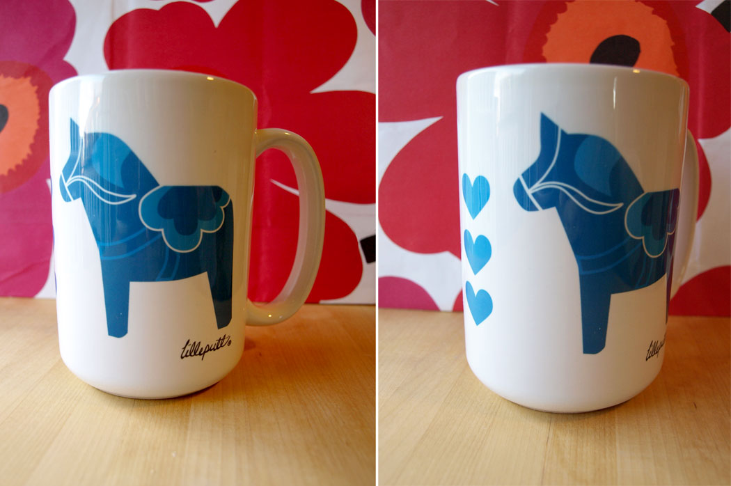 Our popular little dala mug, now in blue!