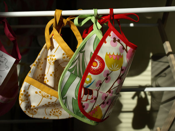 Baby bibs in the morning sunlight.