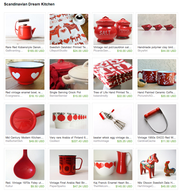 Need a little splash of red in your kitchen?  Check out this lovely collection of Scandinavian inspired kitchen tools and linens!