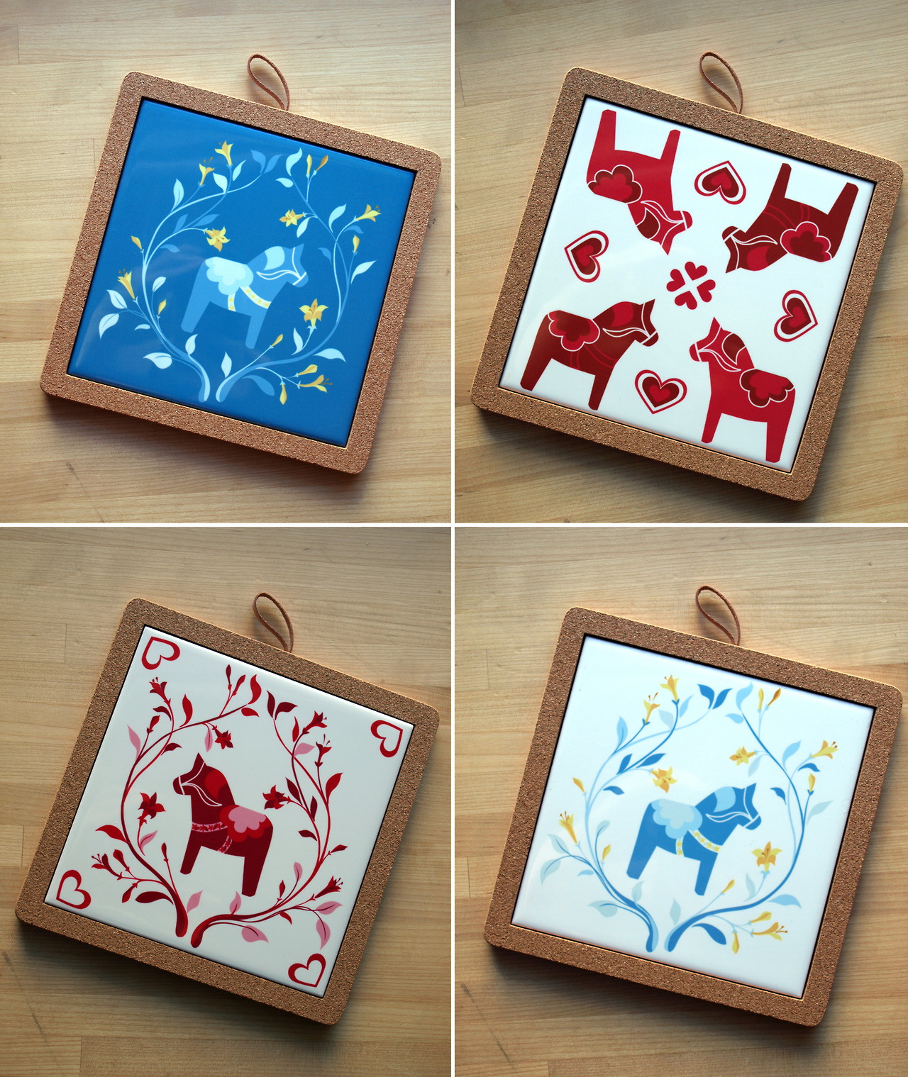 I've set up each trivet listing in the shop to explain how to go about requesting your tile trivet be set in the cork backing, with photos of each, while the original tiles with just the cork feet are still available. (Essentially, just contact me!)
