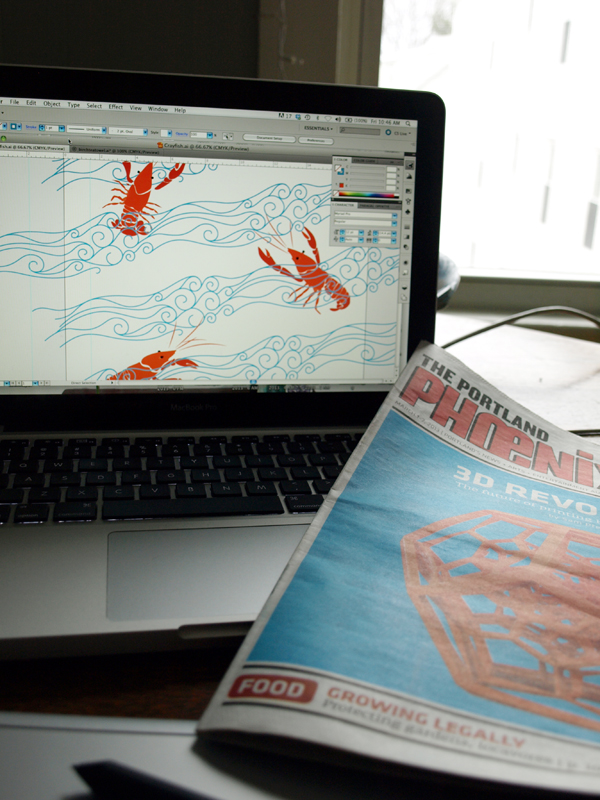 Reading about an exciting project in this week's Portland Phoenix… a Fab Lab with 3D printers in Biddeford, Maine! This I want to try. …Now what to make??  Also, bonus! The cover image served as a nice color reference for this morning's design… Swedish Crayfish!