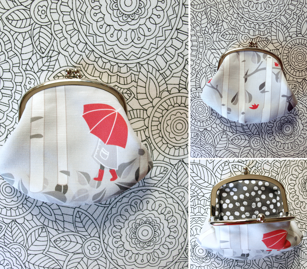 Little red umbrella/birch tree coin purse, in the shop!